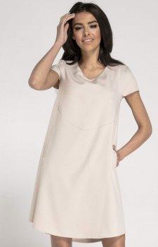 Oversizowa casualowa sukienka beżowa NA1003