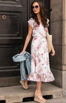 Modna sukienka midi w kolorowe kwiaty 0250/D10