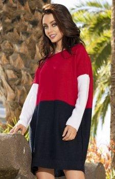 Lemoniade LS203 sweter czerwono-granatowy