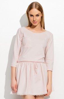 Makadamia M314 sukienka pudrowy róż
