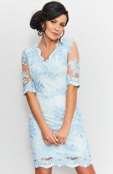 *Roco 0153 sukienka koronkowa błękitna