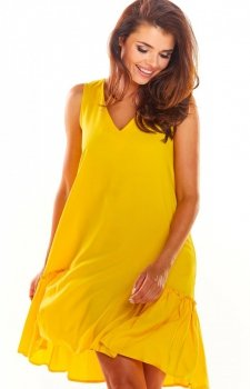 Luźna sukienka z falbaną na dole żółta A285
