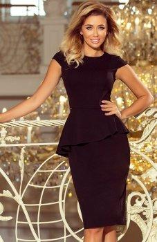 Numoco 192-3 sukienka z baskinką czarna
