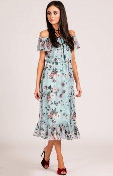 Sukienka z hiszpańskim dekoltem w kwiaty 0247/D06