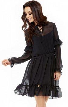 Leminiade L240 zwiewna sukienka czarna