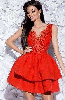 Bicotone 2126-02 sukienka rozkloszowana czerwona