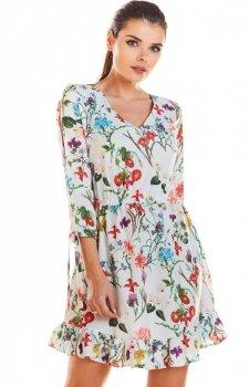 Sukienka w kwiaty na gumie ecru M195