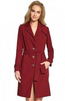 Style S094 płaszcz typu trencz bordowy