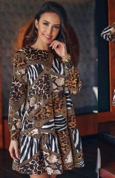 Lola Fashion wzorzysta sukienka rozkloszowana