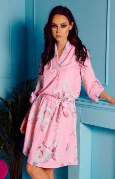 Kopertowa sukienka w kwiaty pudrowy roż wzór L301