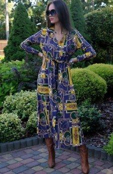 Roco 0220 sukienka długa boho z niebieskim
