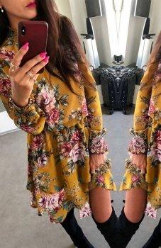 *Lola sukienka w kwiaty musztardowa