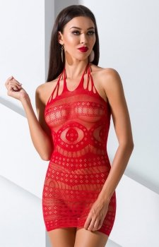Czerwona siateczkowa sukienka BS063