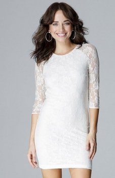 Lenitif L017 sukienka koronkowa ecru