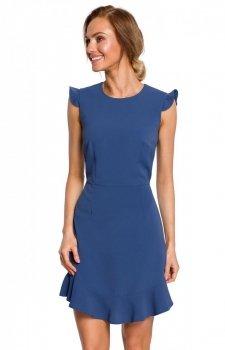 Sukienka z falbanką niebieska M438
