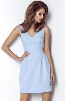 Koktajlowa sukienka z dekoltem April błękitna
