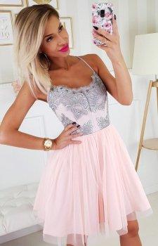 Koronkowa sukienka z tiulowym dołem 2186-33