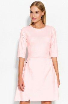 Makadamia M316 sukienka pudrowy róż