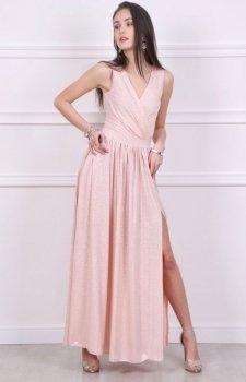 Wieczorowa długa sukienka pudrowa Roco 0224