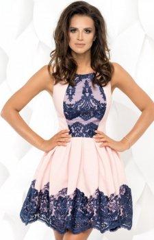 Plisowana sukienka z koronką 2119-11