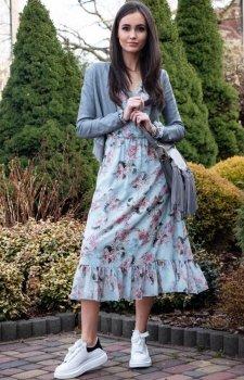 Sukienka maxi w niebieskie kwiaty 241