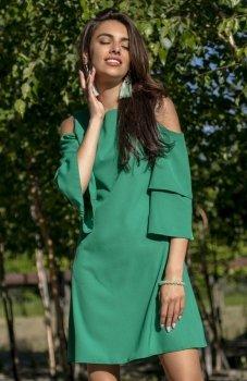 Fobya F543 elegancka sukienka zielona