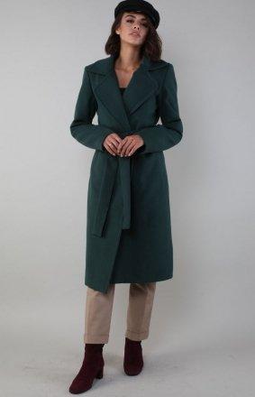 Ciepły płaszcz wiązany zielony NA186LP