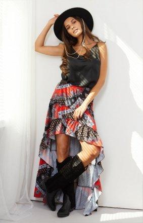 Asymetryczna sukienka z falbaną LG544/D22