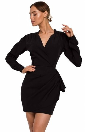 Elegancka mini sukienka z falbaną black M531