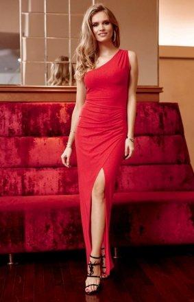 Elegancka czerwona sukienka z brokatem 274