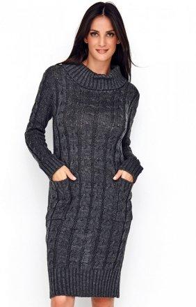 Sweterkowa sukienka z golfem grafitowa S68