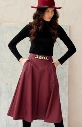 Midi spódnica damska z kieszeniami bordowa 0040