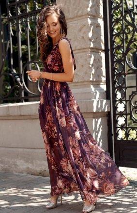 Szyfonowa długa sukienka letnia kolorowa 0209 R74