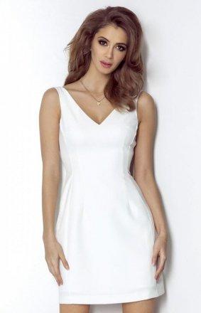 *Koktajlowa sukienka z dekoltem April śmietankowa