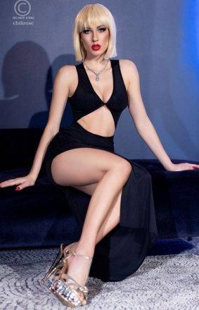 Seksowna dopasowana sukienka czarna 4445