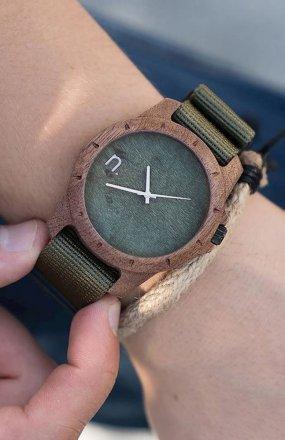 Neat Sport sapelli zegarek drewniany męski zielony