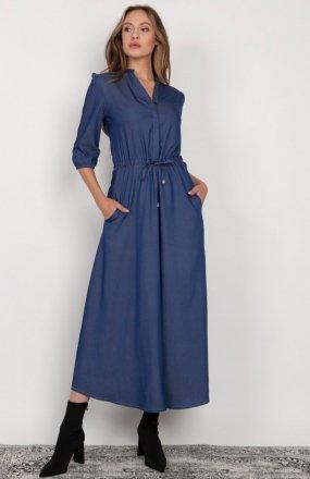 Długa sukienka z rękawem 3/4 i troczkiem jeans SUK205