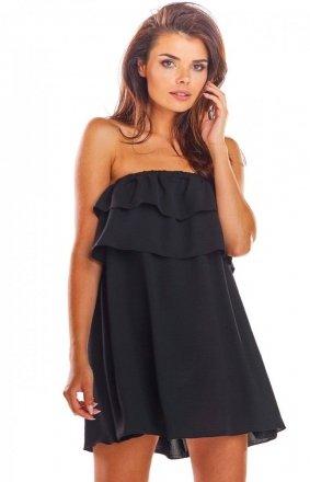 Oversizowa sukienka z falbaną czarna A299