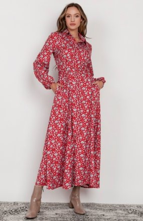 Sukienka maxi na guziki, z kołnierzykiem czerwona SUK204