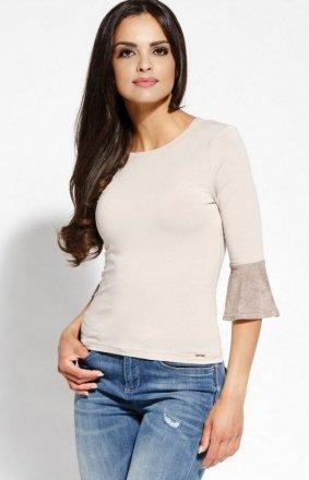 Elegancka bluzka z baskinką beżowa Torro