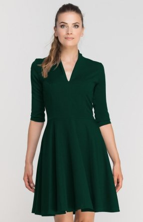 Sukienka rozkloszowana z dekoltem zielona SUK147