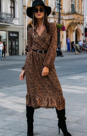 *Sukienka midi w kolorową panterkę 0241/D42