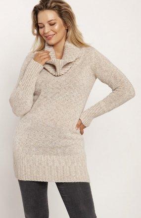 MKM SWE252 długi sweter z golfem beżowy