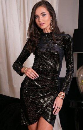 Wieczorowa sukienka czarna z połyskiem złotym 0262