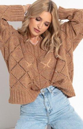 Oversizowy karmelowy sweter Fobya F1263