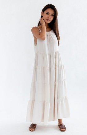 Letnia sukienka maxi beżowa Rossa