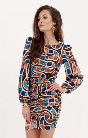 Ołówkowa sukienka z bufiastymi rękawami 0280/S22
