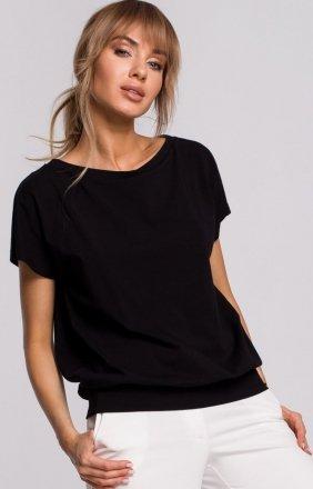 Bawełniana bluzka z krótkim rękawem czarna M498