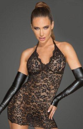 Koronkowa mini sukienka z rękawiczkami F210