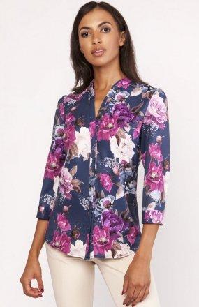 Koszula o luźnym kroju kwiaty K111